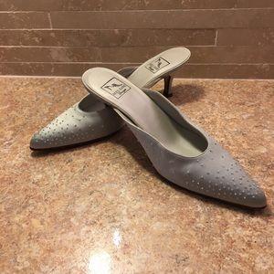 Reed Evins  | Vintage Blue Beaded Slip On Heels